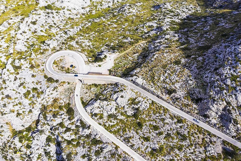 Serpentine road MA-2141 with tie knots Sa Moleta, Sa Calobra, Serra de Tramuntana, drone recording, Majorca, Balearic Islands, Spain, Europe