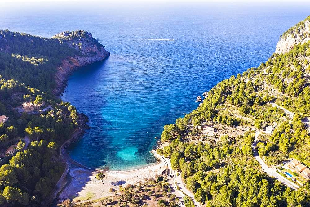 Bay Cala Tuent, Serra de Tramuntana, drone recording, Majorca, Balearic Islands, Spain, Europe
