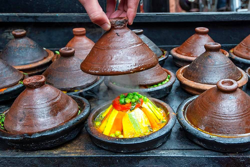 Vegetables prepared in tajine, Marrakech, Morocco, Africa