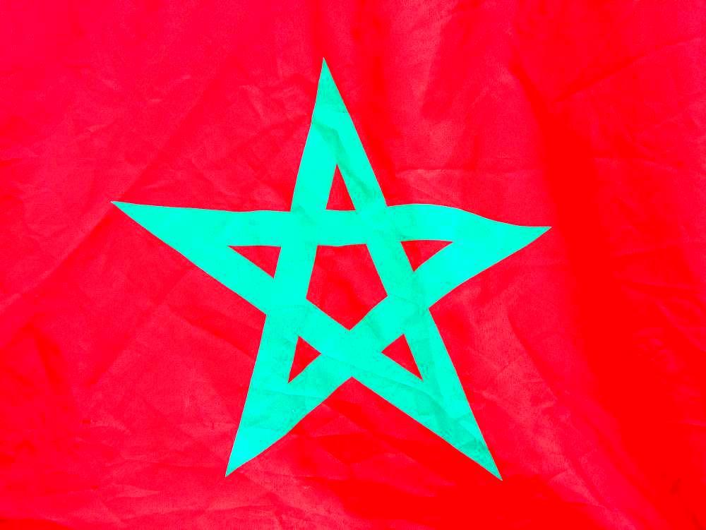 Moroccan flag, Marrakesh, Morocco, Africa