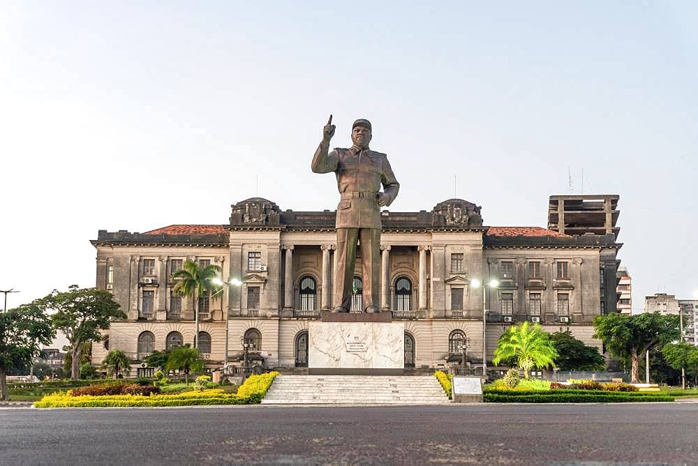 Independence square with Samora Machel statue and city hall in Maputo, Mozambique, Africa