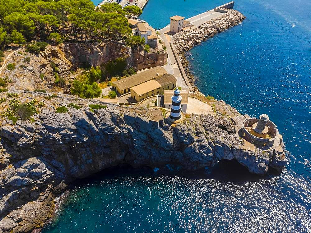 Aerial view, Port de Soller, Serra de Tramuntana, bay and marina with lighthouse, Majorca, Balearic Islands, Spain, Europe