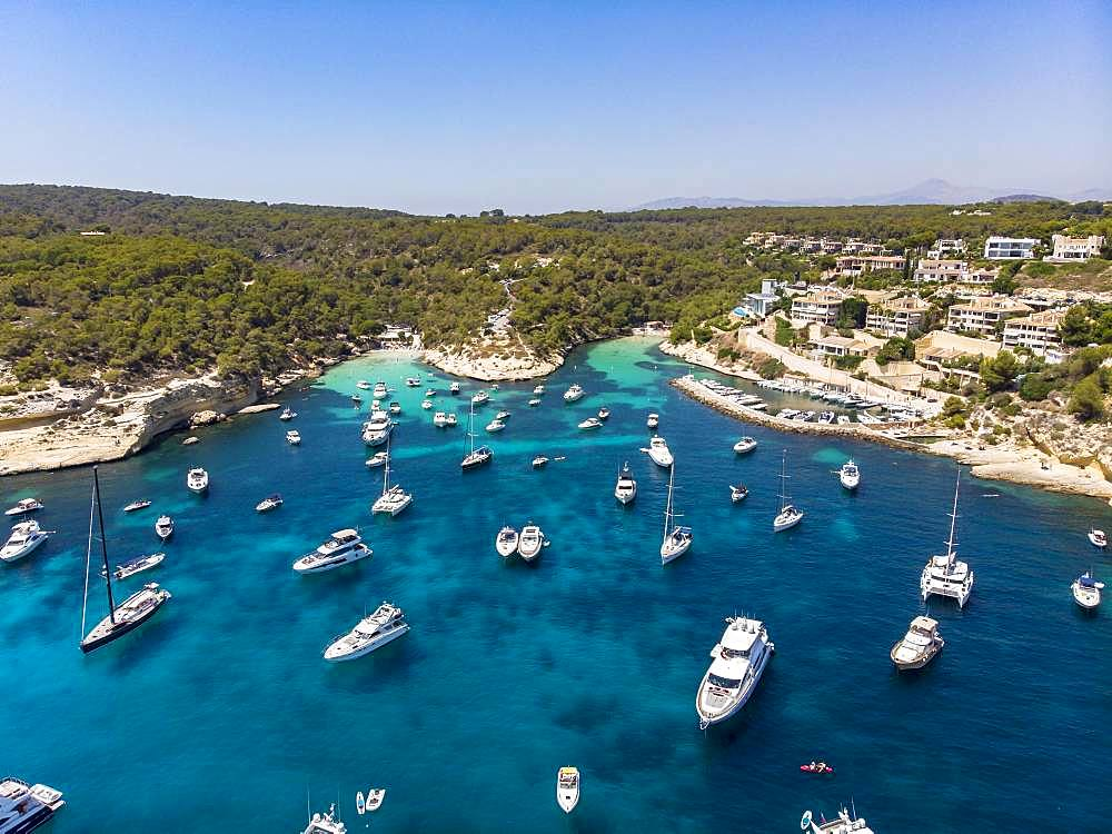 Drone shot, view over the Five Finger Bay of Portals Vells, Majorca, Balearic Islands, Spain, Europe