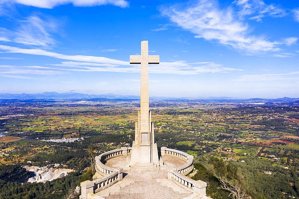 Stone cross Creu de Picot on Puig des Mila, Puig de Sant Salvador, near Felanitx, Migjorn region, aerial view, Majorca, Balearic Islands, Spain, Europe