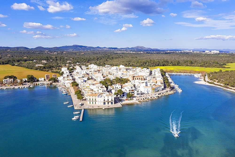 Portocolom, historic town centre and old port, Migjorn region, aerial view, Majorca, Balearic Islands, Spain, Europe