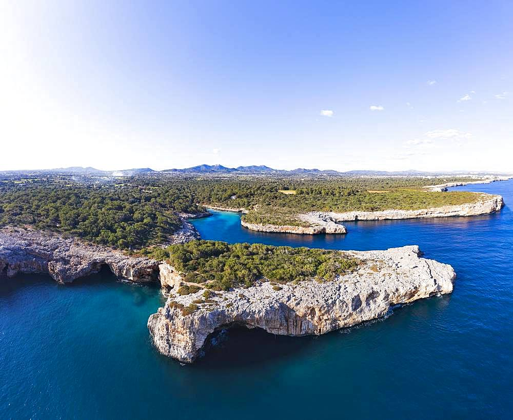 Cala Sa Nau with Forat d'en Mengo, near Cala d'Or, Migjorn region, drone shot, Majorca, Balearic Islands, Spain, Europe