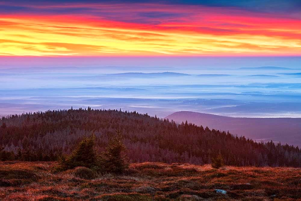 Dawn on the Brocken, view over hills and forests with valley fog, Harz National Park, Saxony-Anhalt, Germany, Europe