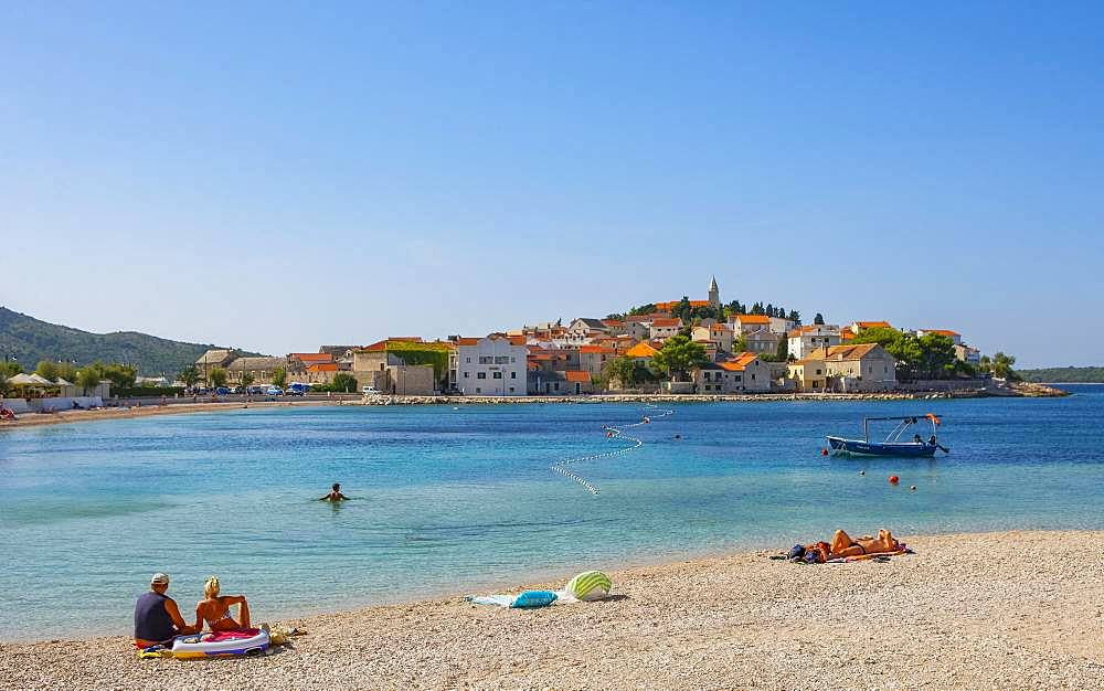 Beach, Primosten, Croatian Adriatic Coast, Central Dalmatia, Dalmatia, Croatia, Europe