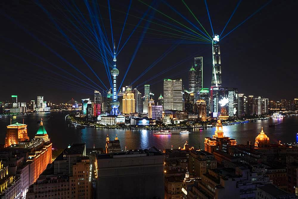 Skyline, Pudong at night, Shanghai, China, Asia