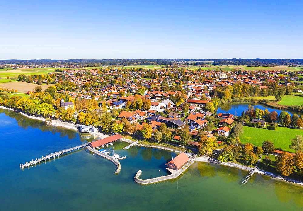 Pier and harbour in Chieming, Chiemsee and Pfeffersee, Chiemgau, Alpine foreland, aerial view, Upper Bavaria, Bavaria, Germany, Europe