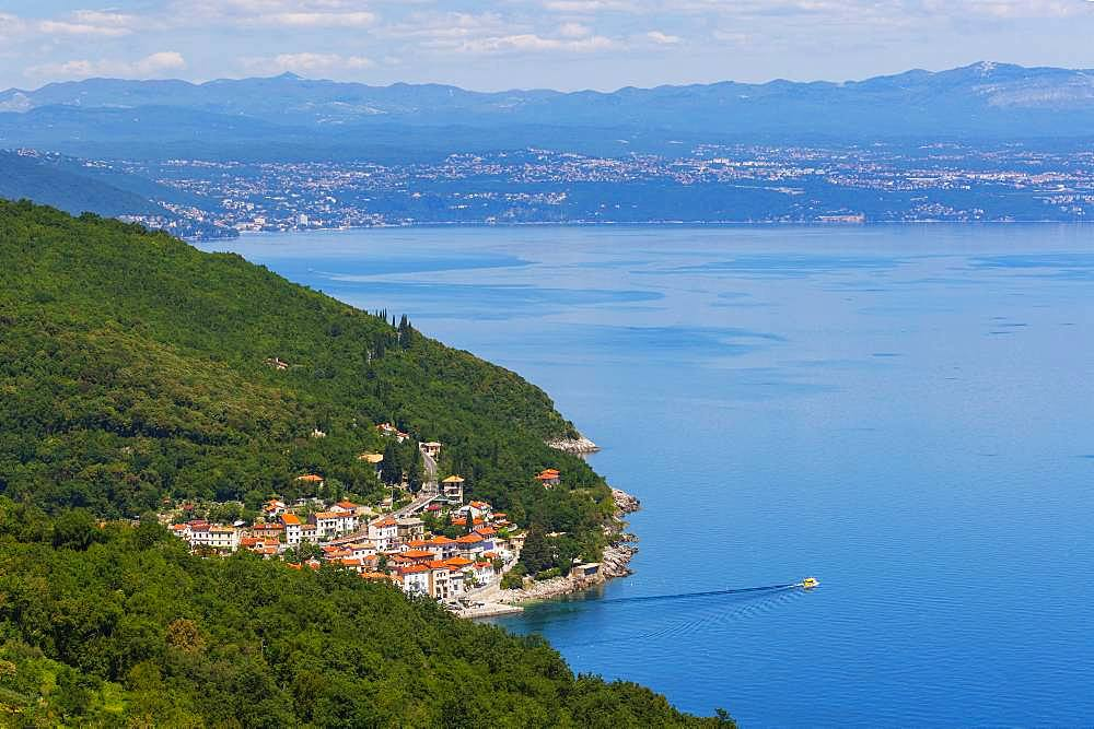 Local view of Moscenicka Draga, Istria, Kvarner Gulf Bay, Croatian Adriatic Sea, Croatia, Europe