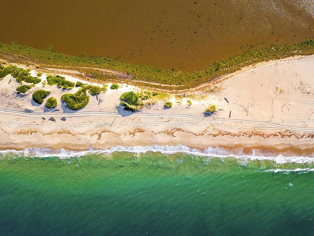 Aerial view of Macaneta Beach, north Maputo, Mozambique, Africa