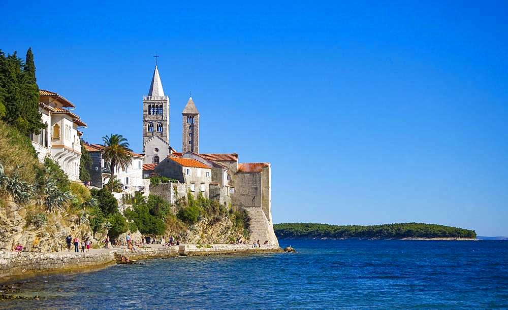 Belfry of the Church of St. John, promenade of the medieval town of Rab, Island of Rab, Kvarner Gulf Bay, Croatia, Europe