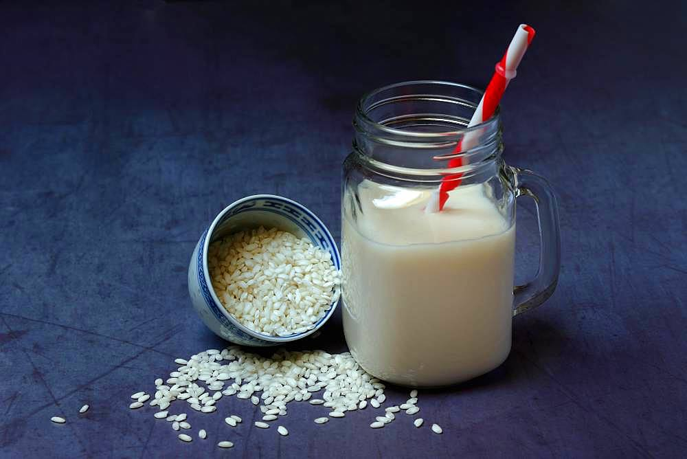 Rice milk in glass with drinking straw and rice grains, Germany, Europe