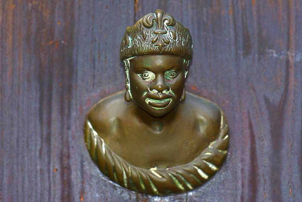 Male bronze figure as doorknob, Venice, Veneto, Italy, Europe - 832-387540
