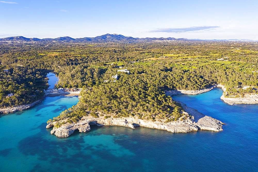 Calo d'en Garrot and Calo des Borgit, Mondrago Natural Park, near Santanyi, aerial view, Migjorn region, Mediterranean Sea, Majorca, Balearic Islands, Spain, Europe