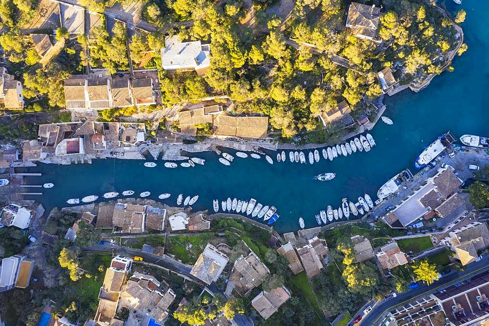 Fishing harbour in Cala Figuera from above, near Santanyi, aerial view, region Migjorn, Mediterranean Sea, Majorca, Balearic Islands, Spain, Europe
