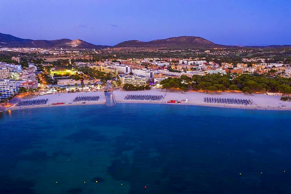 Aerial view over Costa de la Calma and Santa Ponca with hotels and beaches, Costa de la Calma, region Caliva, Majorca, Balearic Islands, Spain, Europe