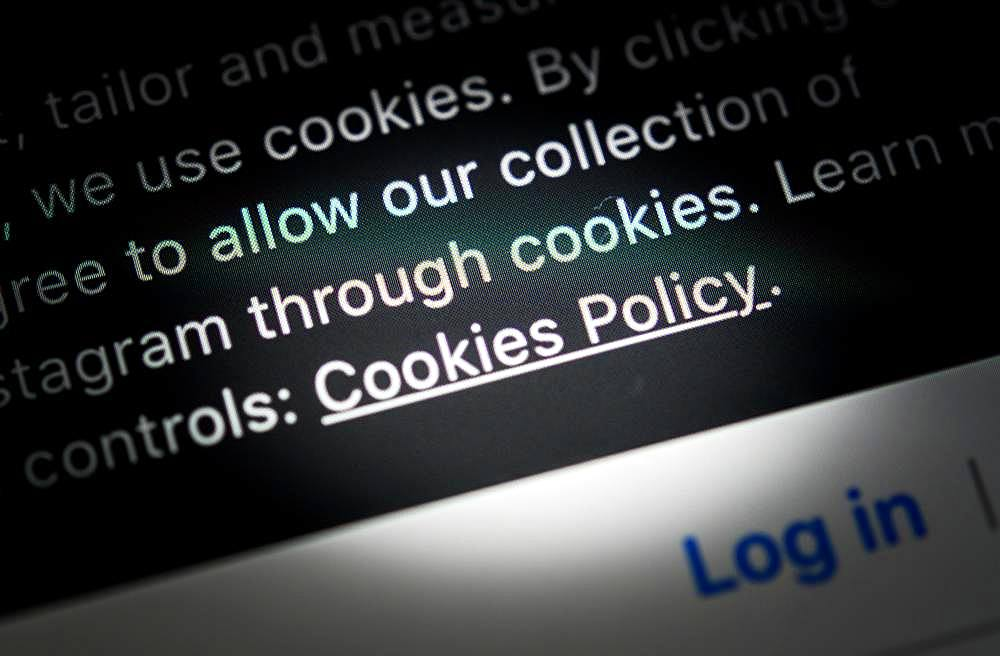 Cookie policy of a website, tracking, privacy, screenshot, close-up, detail