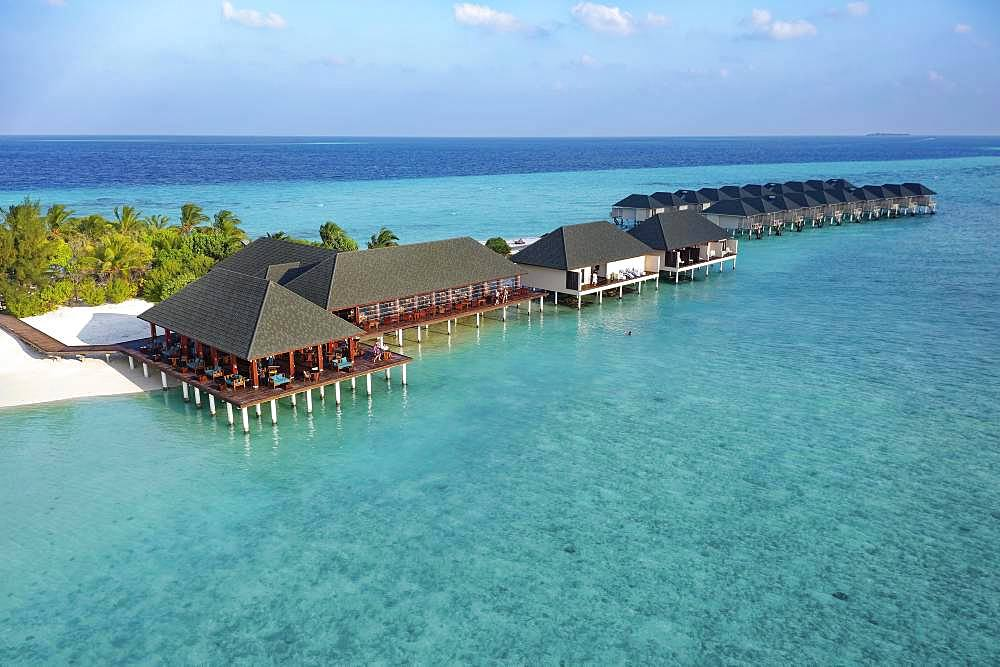 From the left: Bar, Restaurant, Spa, Water Bungalows, Summer Island, North Male Atoll, Maldives, Asia