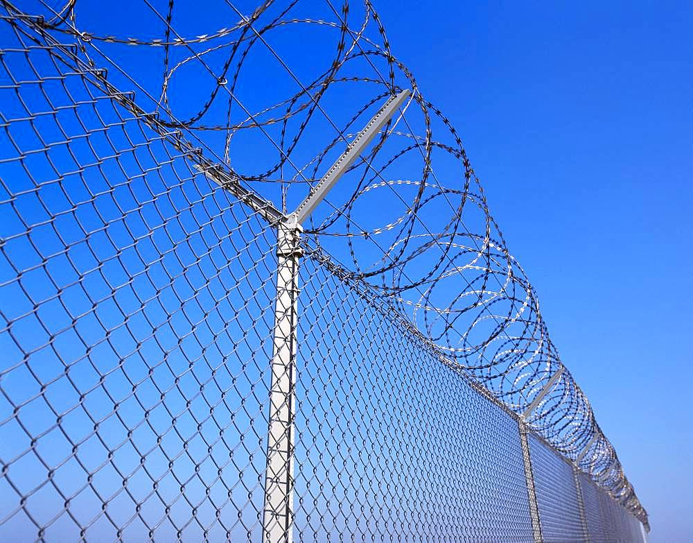 Barbed wire fence, Germany, Europe