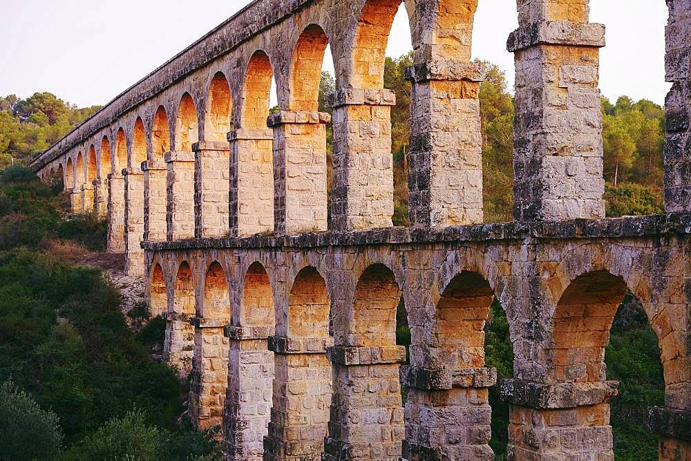 Old roman aqueduct, Aqueeducte de les Ferreres, Devil's Bridge, Pont del Diable, Catalonia, Spain, Europe