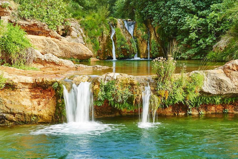 Waterfall, Matarranya River at El Parrizal, Beceite, Catalonia, Spain, Europe