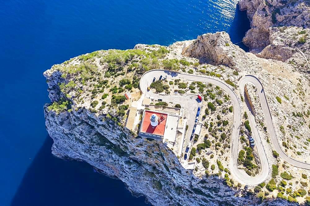 Lighthouse at Cap Formentor, Formentor peninsula, near Pollenca, drone shot, Majorca, Balearic Islands, Spain, Europe