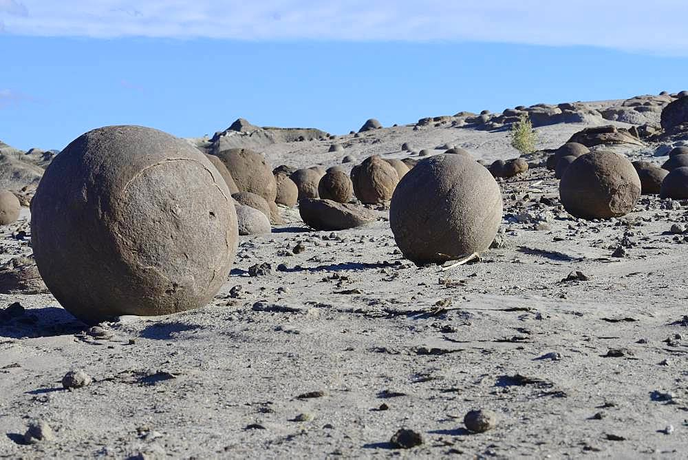 Round rocks on the Cancha de Bochas, Boccia course, Ischigualasto Nature Reserve, San Juan Province, Argentina, South America