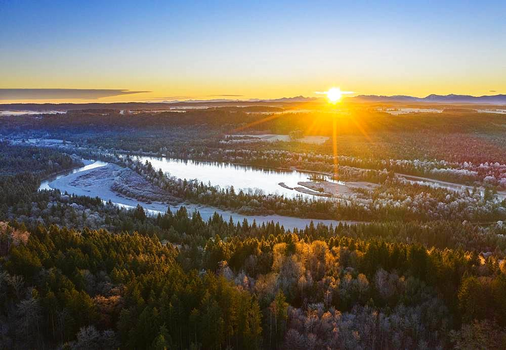 Ickinger Reservoir and Isar at sunrise in winter, nature reserve Isarauen, near Icking, drone shot, Upper Bavaria, Bavaria, Germany, Europe