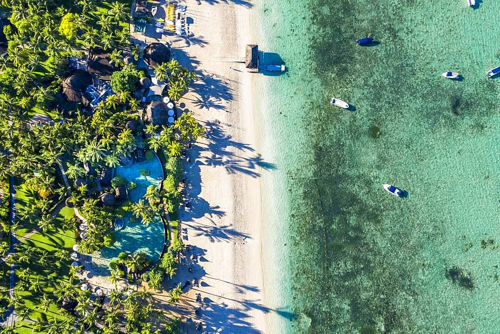 Aerial view, Idyllic palm beach, luxury hotel La Pirogue Resort & Spa, Flic en Flac, Mauritius, Africa
