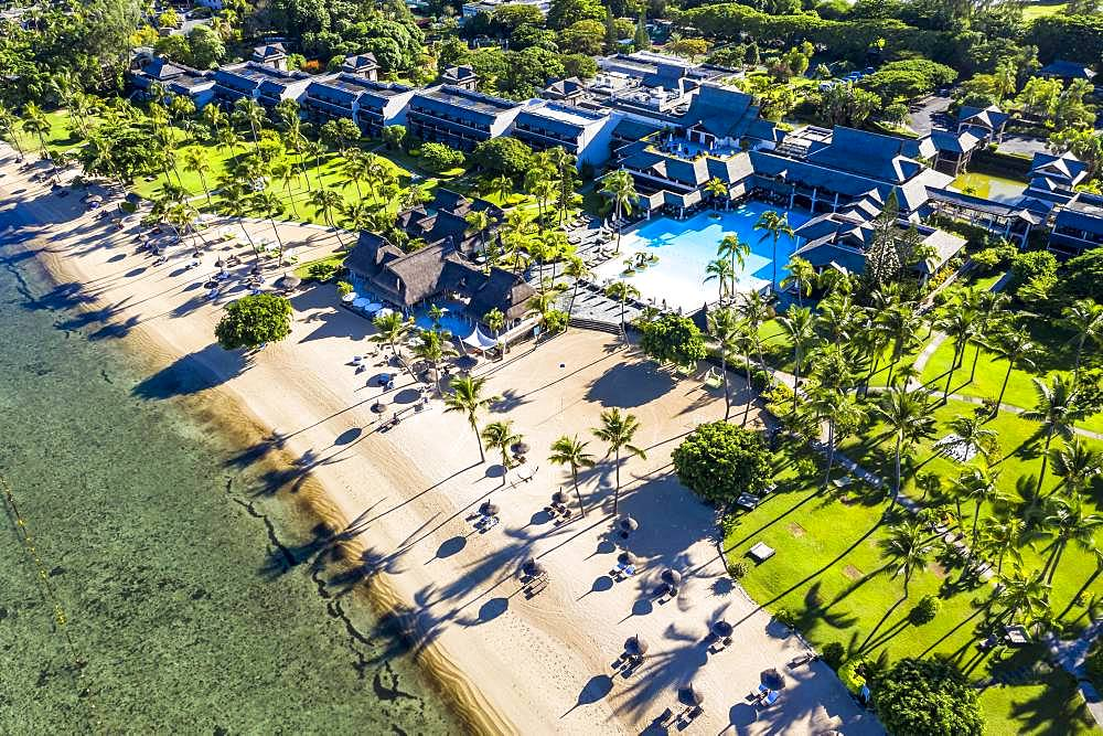 Aerial view, beach in front of the luxury hotel Sofitel Mauritius L'Imperial Resort & Spa, Flic en Flac, Mauritius, Africa