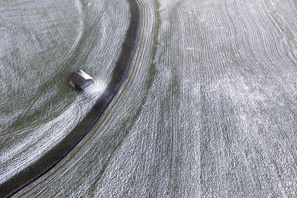 Drone shot, hay barn and field with hoarfrost from above, near Kochel, Upper Bavaria, Bavaria, Germany, Europe