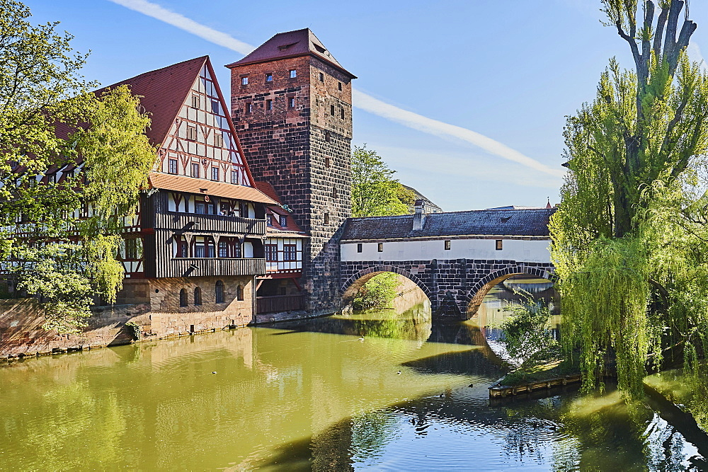 View of the Wasserturm and the Henkerbruecke at the Pegnitz River, Nuremberg, Franconia, Bavaria, Germany, Europe