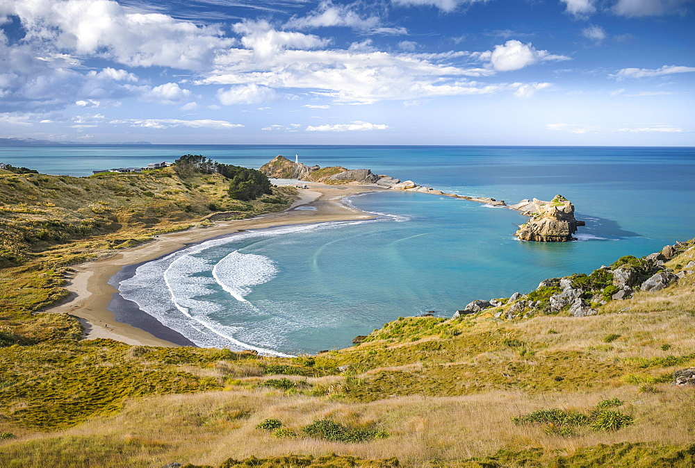 Beach with turquoise sea at Castlepoint Lighthouse, Masterton, Wellington, North Island, New Zealand, Oceania