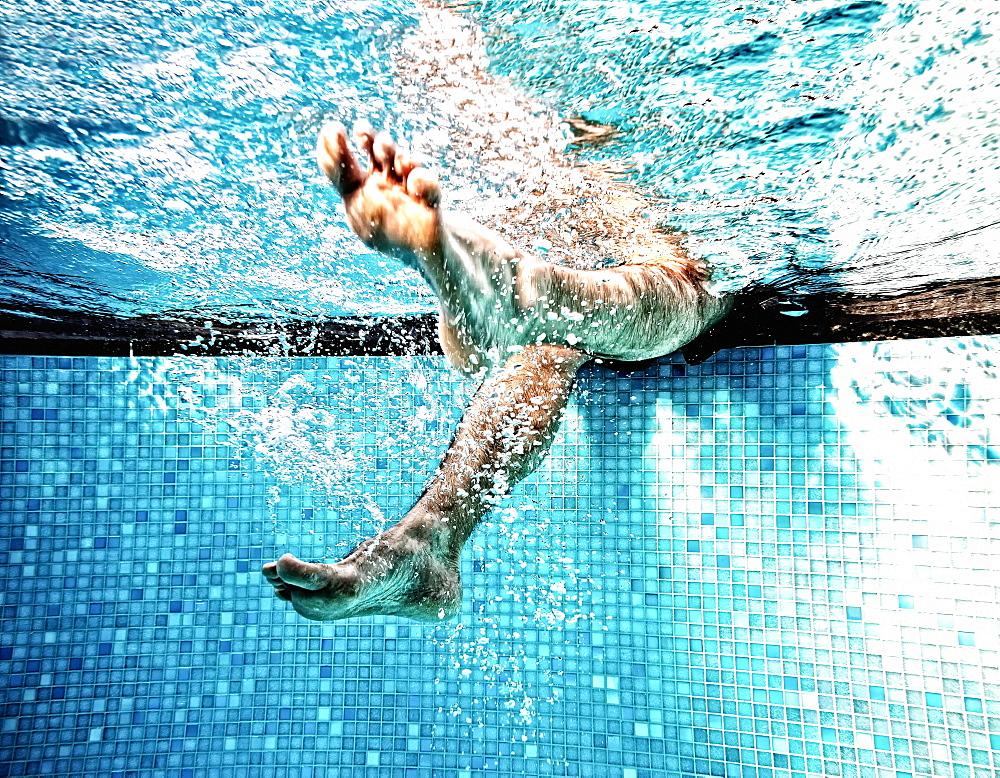 Men's feet, feet under water, gymnastics under water, water gymnastics, Germany, Europe