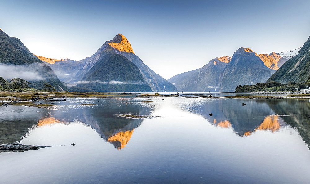 Mitre Peak is reflected in Milford Sound, Fiordland National Park, Southland Region, South Island, New Zealand, Oceania