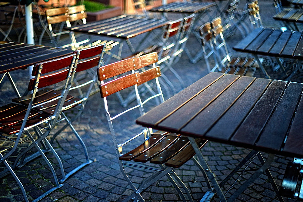 Empty tables in beer garden, Germany, Europe