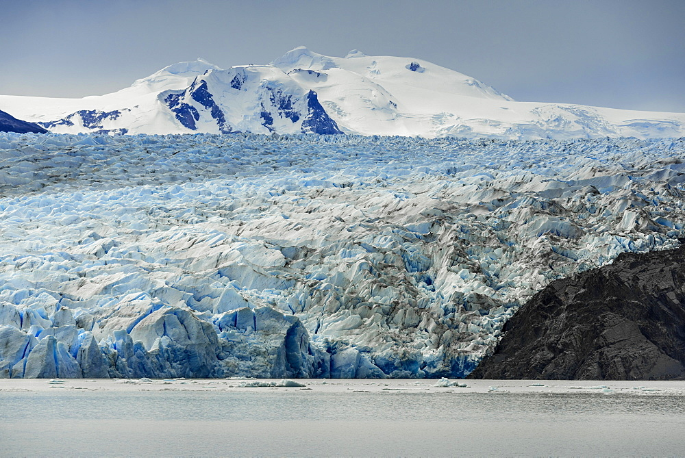 The Grey Glacier flows into Lake Grey, Torres del Paine National Park, Patagonia, Chile, South America