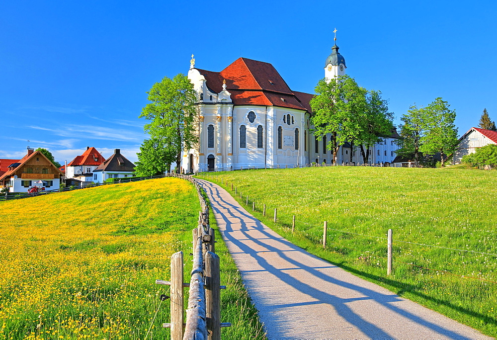 Pilgrimage Church, Wieskirche, Steingaden, Romantic Road, Pfaffenwinkel, Upper Bavaria, Bavaria, Germany, Europe