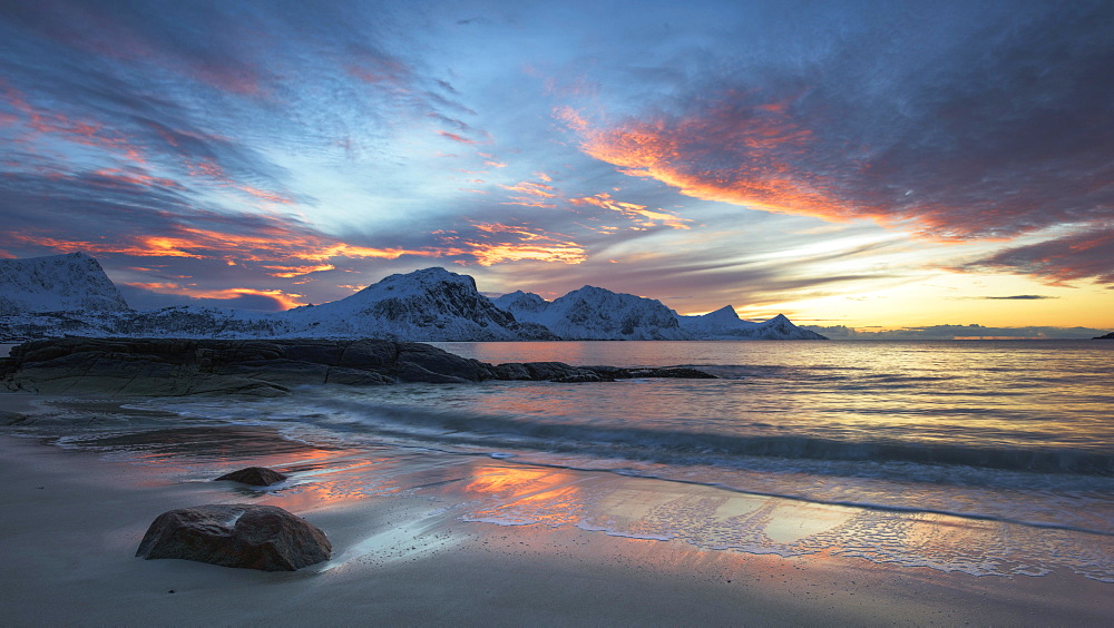 Sunset, Haukland Beach, Lofoten, Norway, Europe