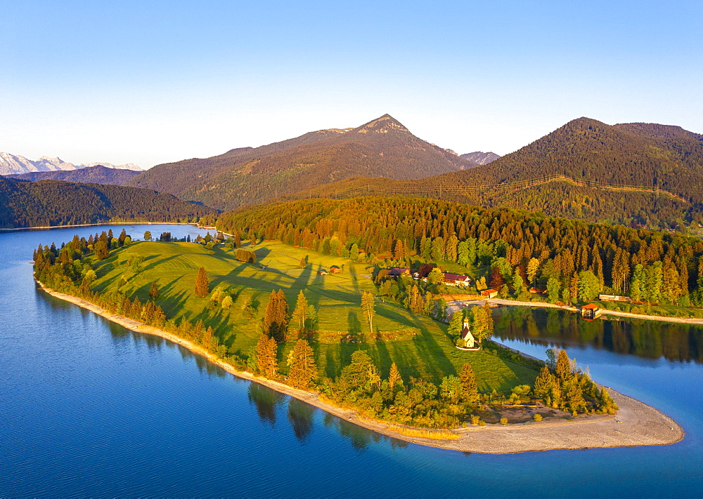 Walchensee with peninsula dwarfs in the morning light, Simetsberg, drone image, Upper Bavaria, Bavaria, Germany, Europe