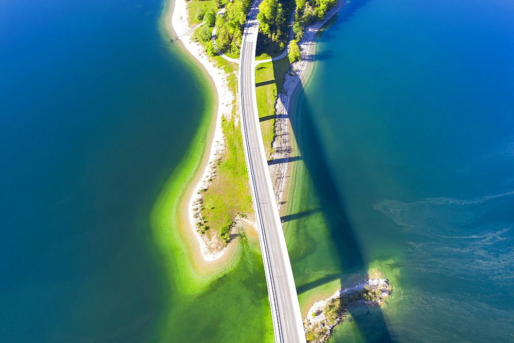 Faller-Klamm-Bridge, Sylvensteinsee, near Lenggries, Isarwinkel, drone recording, Upper Bavaria, Bavaria, Germany, Europe