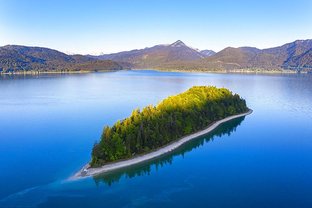 Island Sassau, Lake Walchensee, near Kochel am See, drone shot, Upper Bavaria, Bavaria, Germany, Europe - 832-388031