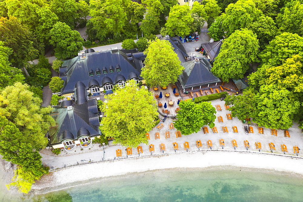 Beer garden and restaurant Seehaus am Kleinhesseloher See, English Garden, Munich, aerial view, Upper Bavaria, Bavaria, Germany, Europe