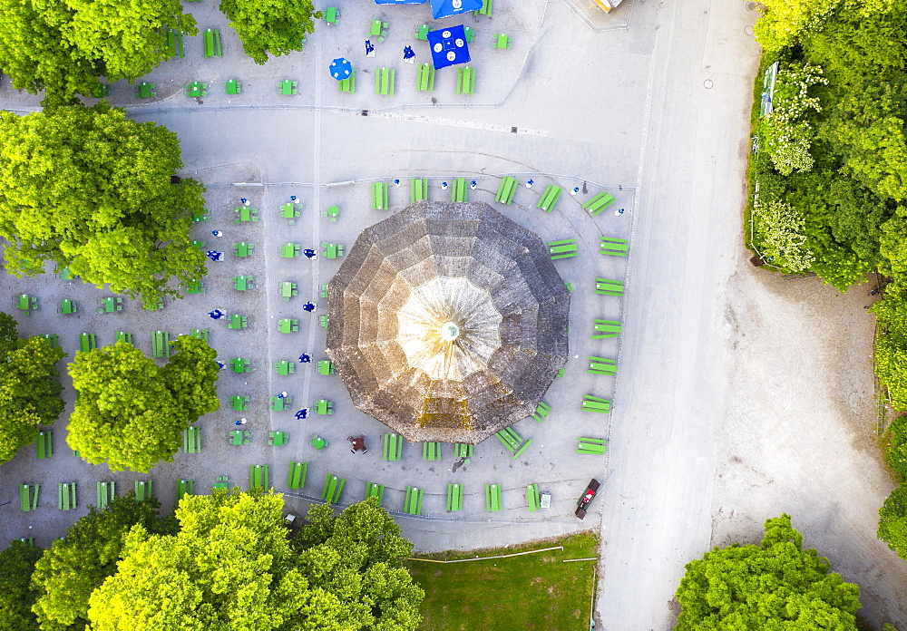 Chinese tower with beer garden from above, English garden, Munich, aerial view, Upper Bavaria, Bavaria, Germany, Europe