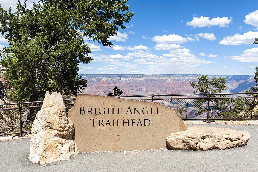 Starting point Bright Angel Trail, sign Bright Angel Trailhead, Colorado Plateau, Grand Canyon Village, Grand Canyon National Park, Arizona, USA, North America