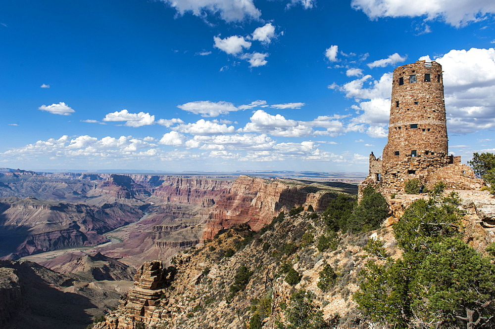 Observation tower, Desert View Watchtower, Colorado Plateau, Grand Canyon National Park, Arizona, USA, North America