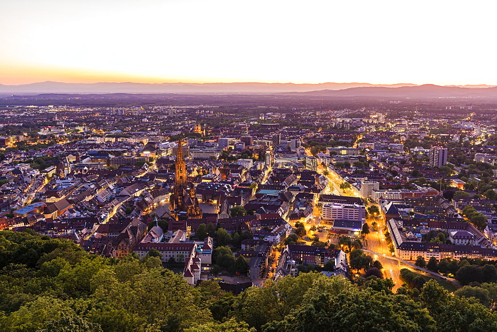 City view from the Schlossberg with Muenster, Freiburg im Breisgau, Black Forest, Baden-Wuerttemberg, Germany, Europe