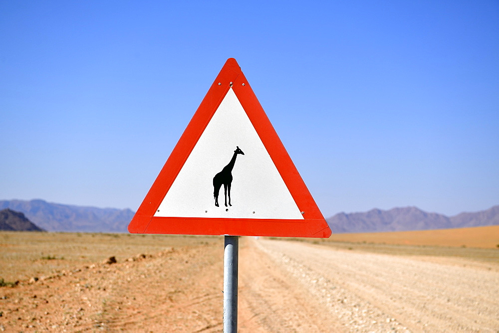 Road sign warns of crossing giraffes, Namibia, Africa